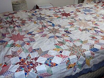 FULL Vintage Hand Pieced Feed Sack CARPENTER'S WHEEL Star & Diamond Quilt TOP