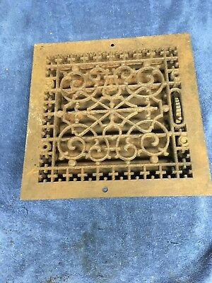 Vtg Antique Cast Iron Floor Grate & Damper-Victorian heating Vent Register 12x12