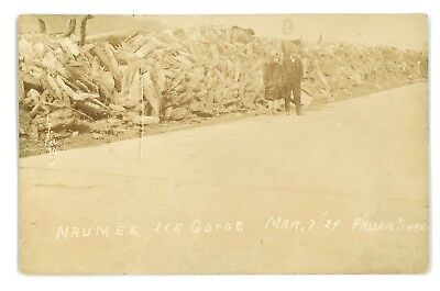 RPPC Maumee River Ice Gorge Fallen Timber TOLEDO OH? Vintage Real Photo Postcard
