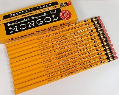 UNUSED Vtg Eberhard Faber Mongol No 482 No 2 3/8 F Firm Pencils in Original Box