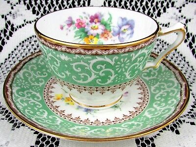 Crown Staffordshire Green Scroll Design Floral Tea Cup And Saucer