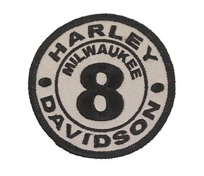 "Milwaukee 8 Patch Size: 3"" Black On Gray Davidson, Harley"