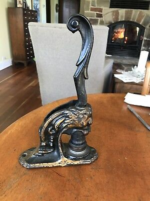 Antique Cast Iron Lion Head Form Corporate Seal/Embosser/Notary SHIELD/SWAN