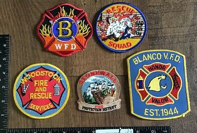 Mixed Lot of 5 Fire Department Patches Rescue EMS Firefighter #3 TX CO WY GA