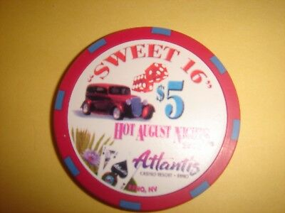 "Atlantis Casino Reno ""hot August Nights - Sweet 16"" $5 Casino Chip - Mint"