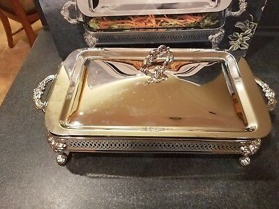 Silver Plated 2 Qt Oblong Casserole Covered Baker And Stand Royal Limited