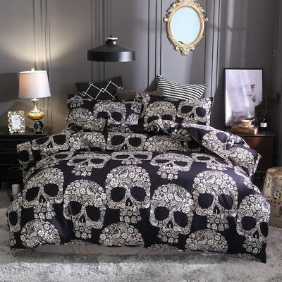 Skull Doona/Duvet/Quilt Cover Set Halloween Skeleton Bedding Set Double Queen