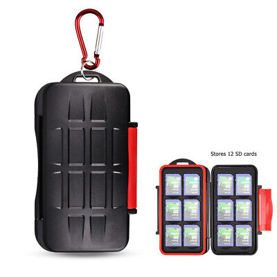 KIORA Water-Resistant 12 SD SDXC SDHC Memory Card Case Holder Box with Carabiner