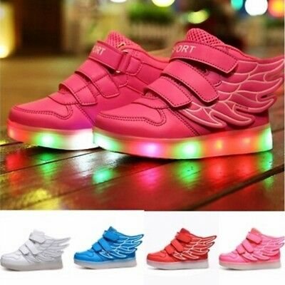 AU Kids Child Luminous  Sneakers Girls Boys USB LED Flash Light Up Casual Shoes
