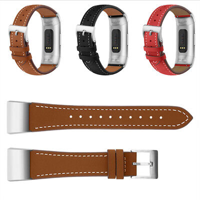 Genuine Leather Watchband Bracelet Band Wriststrap For Fitbit Charge 3 Accessory