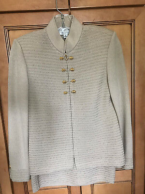 St. John by Marie Gray 2 piece beige suit- jacket and skirt-Size 2