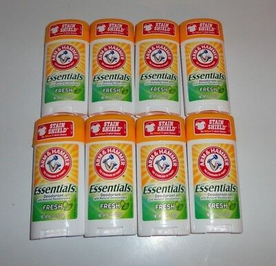 Lot of 8 Arm and Hammer Essentials Deodorants Full size 2.5 oz. each