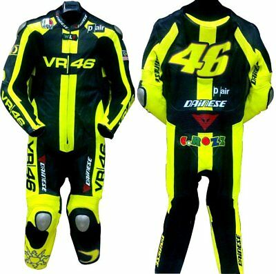 Valentino Rossi VR46 motogp Racing Real Cowhide Leather Suit