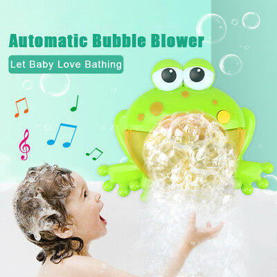 Cute Big Frog Automatic Bubble Maker Machine Blower Music Bath Toy for Kids Girl