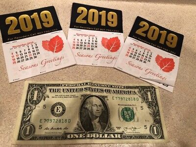 Dash Calendar 2019 Early Pricing Free Postage No Tax~lot of THREE~