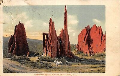 VTG Postcard Cathedral Spires Garden of the Gods Colorado US 1908 Posted Antique