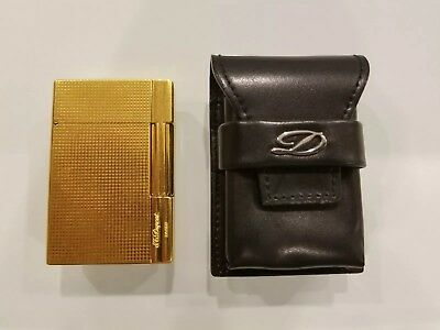 St Dupont Lighter Genuine Leather Black Silver Pouch Case Line 2 Box Gatsby Rare