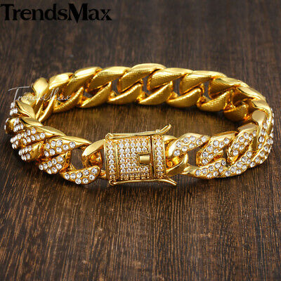 Womens Mens Bracelet Chain Yellow Gold Plated Hip Hop Paved Rhinestones 14mm