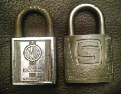 Lot Of 2 Vintage Antique Brass Padlocks Yale Towne Slaymaker Pin Tumbler No Keys