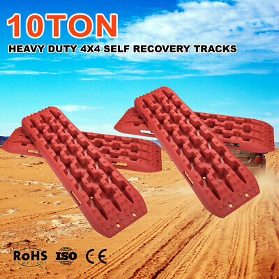 RED 10T Recovery Tracks Off Road 4x4 4WD Car Snow Mud Sand Track 10 Ton 2Pair