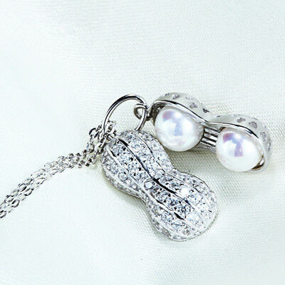18K Gold Plated Clear Cubic Zirconia & White Shell Pearl Peanut Necklace