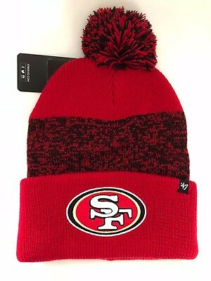 98996c16d88 47 Brand San Francisco 49Ers Static Cuff Knit Adult Pom Beanie Nfl - New Sf