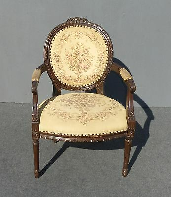 Beautiful Vintage FRENCH Country PROVINCIAL Carved Tan TAPESTRY Side ARM CHAIR