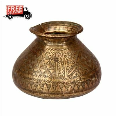 1800's Antique Old Rare Brass Hand Carved Islamic Drinking Water Pot 439