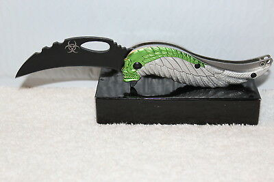 Skull Wing Wings Biohazard Spring Assisted Knife Blade With Belt Clip ( Silver )