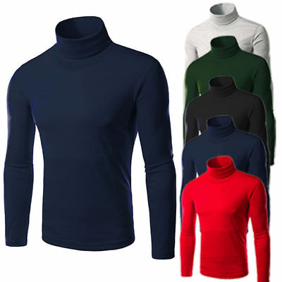 Men Thermal High Collar Turtle Neck Skivvy Long Sleeve Sweater Stretch Shirts AU