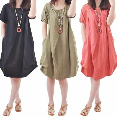 Women Summer Plus Size O-Neck Cotton Linen Short Sleeve Loose Casual Midi Dress