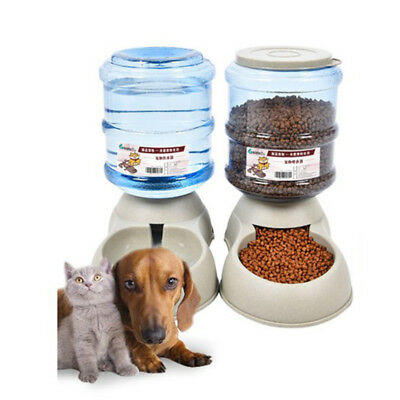 3.75L Automatic Pet Dog Cat Water Fountain Food Bowl Feeder Dispenser Durable
