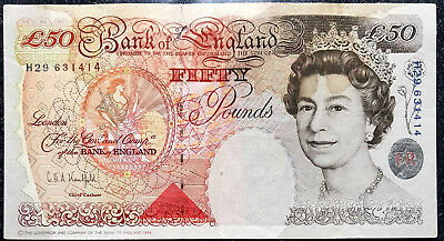 Ancient British ENGLAND 50 Pound Banknote, Used F (+free 1 B/Note) #D4741