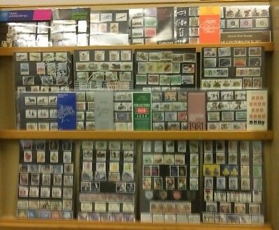 Collection of 19 GB Royal mail year packs of stamps 1972 - 1990 FACE VALUE £105+