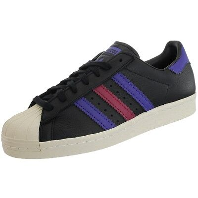 Adidas Superstar 80s black blue red men's leather iconic low-top sneakers NEW