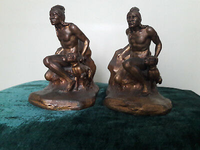 Antique Jennings Brothers Native American & Dog Bookends - Signed JB 1524