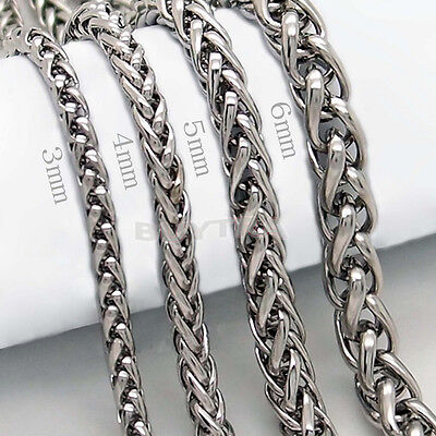 "3/4/5/6MM 20"" MENS Silver Stainless Steel Wheat Braided Chain Necklace wv"
