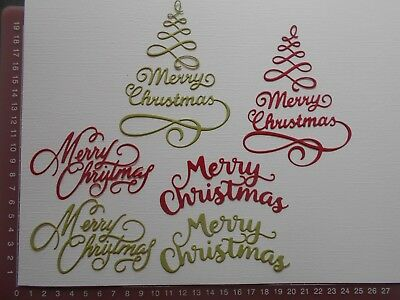 Die cuts - Christmas Words Greetings x 6 Embellishments -  Merry Christmas Lot 2