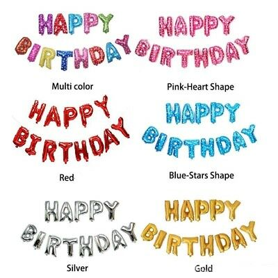 Self Inflating 16 INCH Foil Letters BALLOONS Happy Birthday Bunting Baner Ballon
