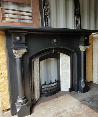 Large Victorian Slate Surround & Copeland Tiled Insert.. Circa 1870-1890