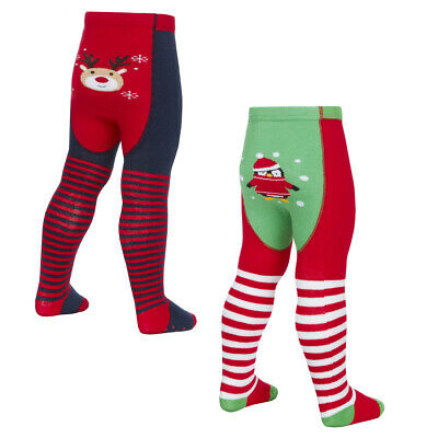 Pack of 1 Pair or 2 Pairs Baby Girls Xmas Tights Novelty Soft Warm Cotton Rich
