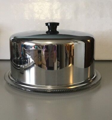 Vintage METAL DOME COVER W FOOTED RIDGED GLASS CAKE PIE PLATE SAVER