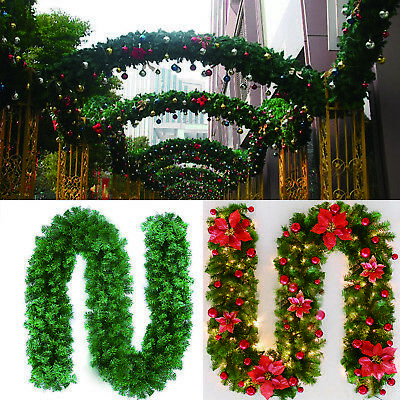 2.7m Christmas Green Christmas Garland Wreath Rattan For Outdoor Home Decoration