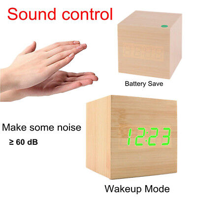 Wooden Wood Modern Cube Digital LED Desk Voice Control Alarm Clock Thermometer F