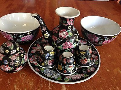 Antique Chinese Famille Rose ( Black ) Porcelain Set X 8