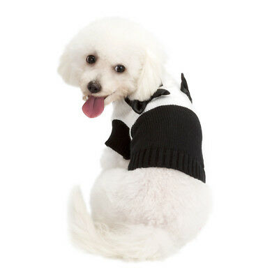 Cute Pet Black and White Bow Sweater Pet Dog Cats Costume Halloween Dress Up