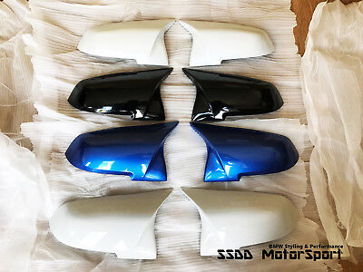 Painted BMW M Look Mirror Covers 1 2 3 4 Series Estoril Blue Alpine White Etc UK