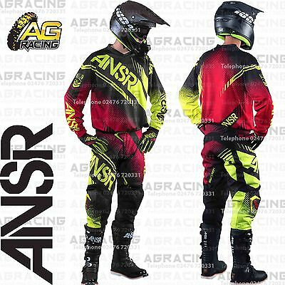 """Answer Syncron Adult Black Red Acid Jersey & Pant Combo Kit 28"""" SM Motocross"""