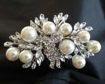 Wedding Bridal Vintage Pearl Rhinestones Crystal Silver Hair Comb Headpiece NEW