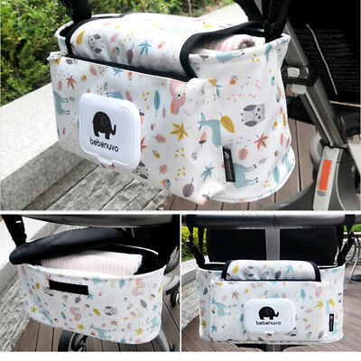 "Hanging Bag Stroller Accessory Nylon Bottle Organizer ""Baby Carriage Storage'Bag"